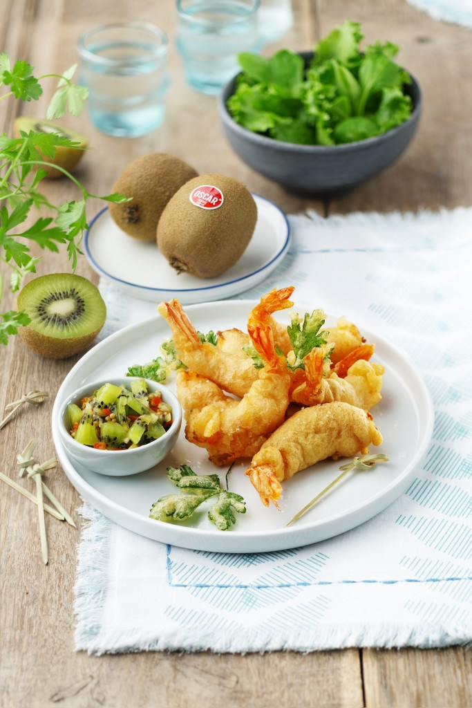 Prawn tempura with Oscar® kiwi chutney