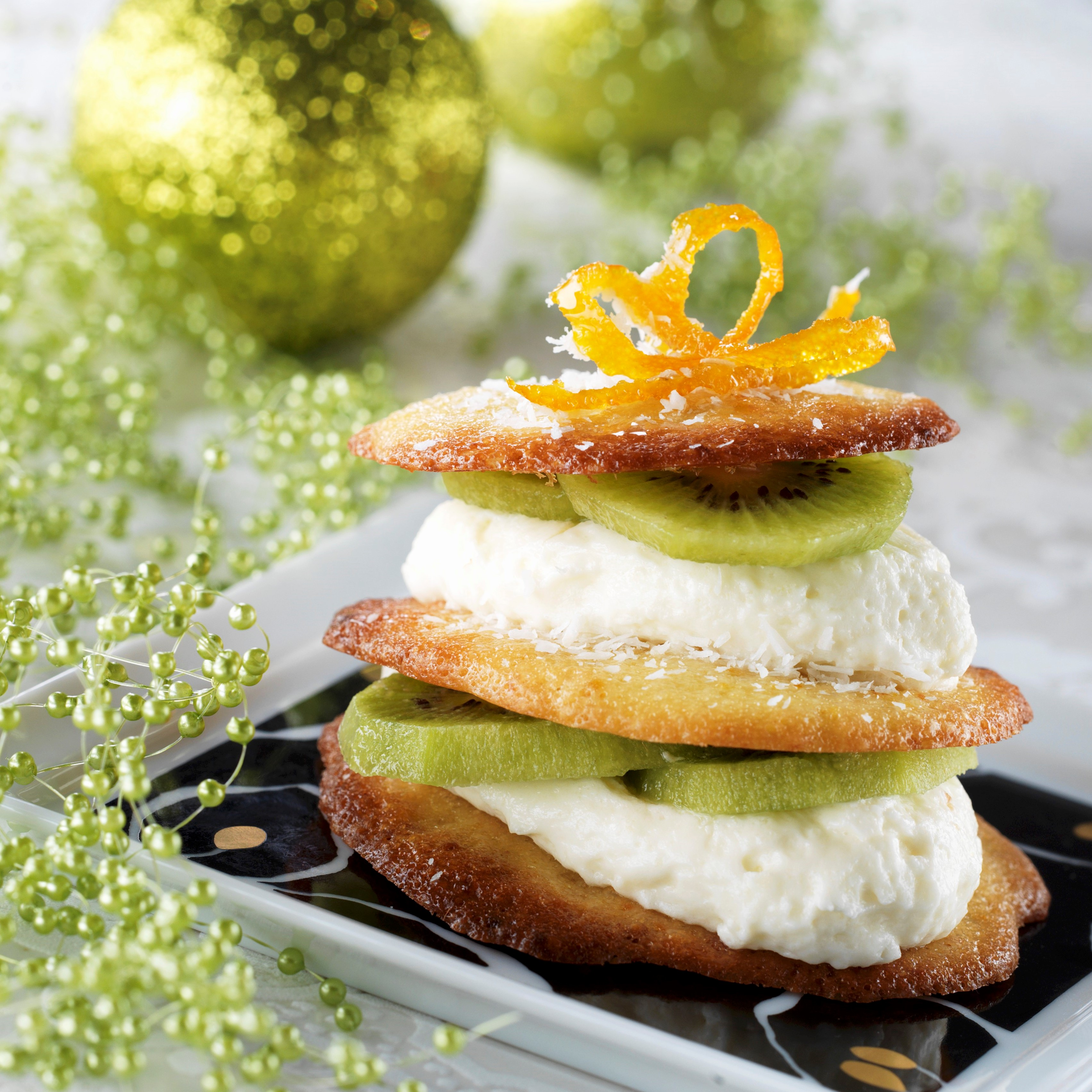 Orange, coconut and Oscar® kiwi mille-feuilles